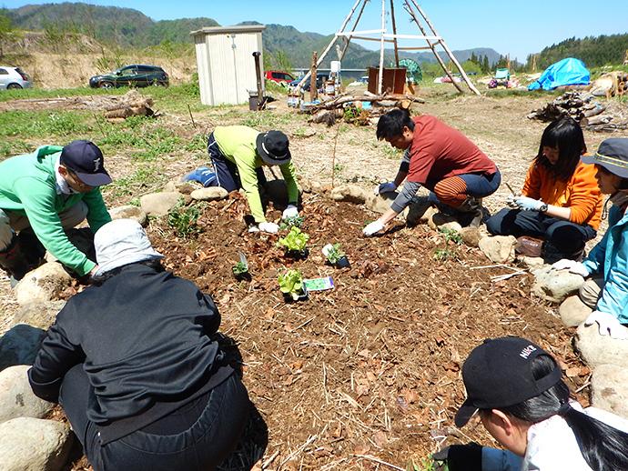 地元の農業高校の生徒さとと協働で、森の土を使って野菜作り。