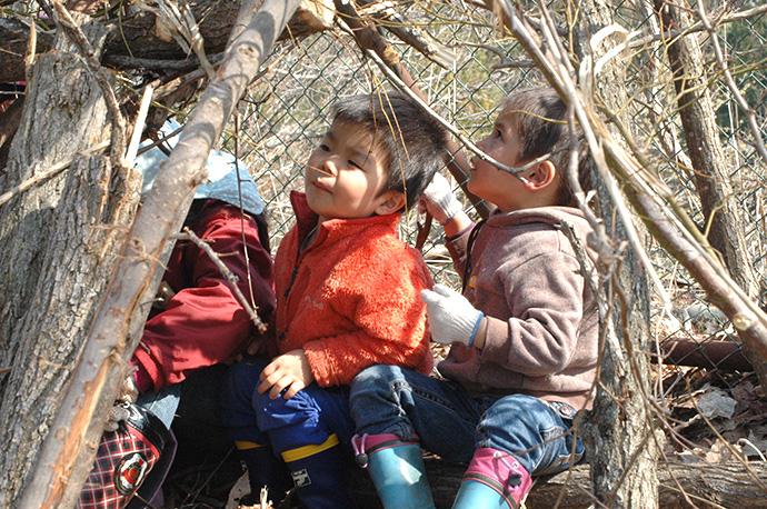 森の秘密基地。ちょっとした工夫で、子どもたちは枝葉を屋根壁に。