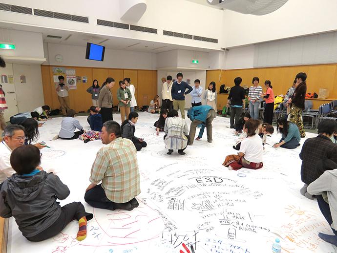 アースデイの後夜祭。 印刷工場からいただいた排紙を床一面に敷き詰めて、ゲストの話、参加者どうしで語り合って感じたことをどんどん落書きしていく。