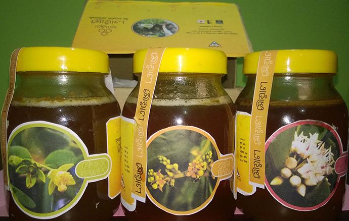 瓶詰された蜂蜜商品案