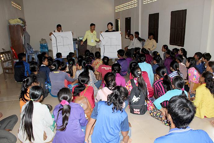 コミュニティーの子供達とゴミ問題についての話し合い